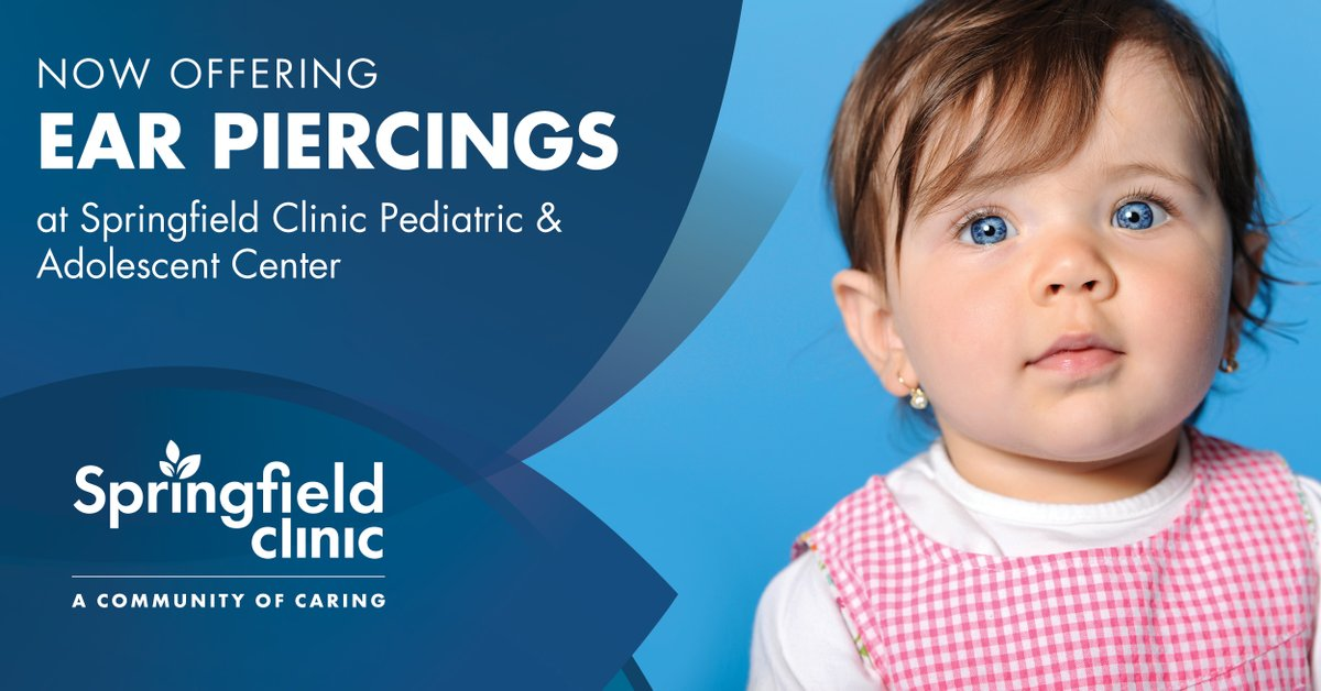 Ear piercings are now available for your little one at Springfield Clinic Pediatric and Adolescent Center! Pricing rages from $50.00 to $75.00 and is available by appointment only.   Call today to schedule your visit 217.528.7541.