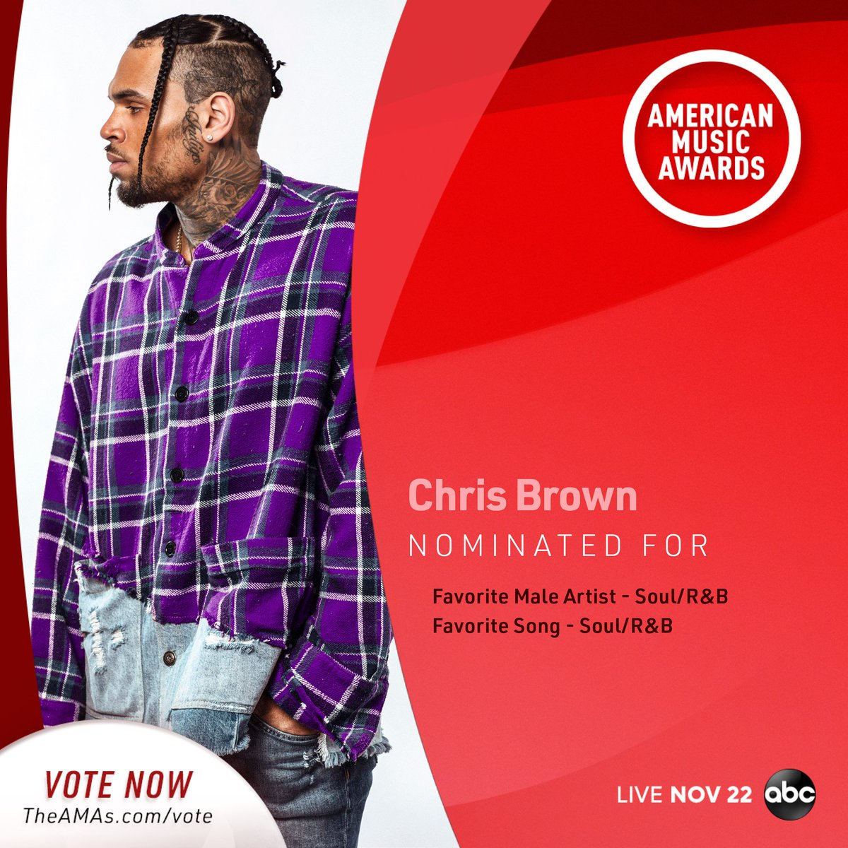 #TEAMBREEZY Voting for the 2020 @AMAs closes in ONE WEEK! You can vote every day and here's how: . #AMAs