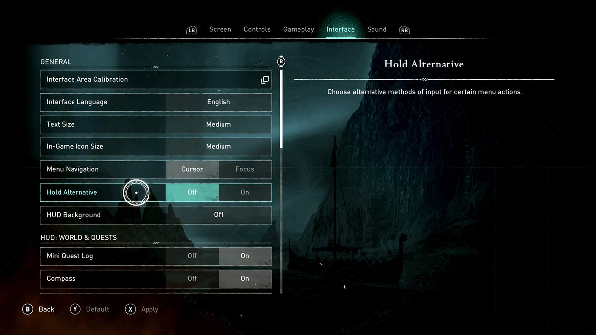 """Rogue Fox - For those who aren't able to select their character, or change brightness, on @assassinscreed for @Xbox. Turn off """"Hold Alternative"""" in options. That should fix it.  My wife dug deep on Reddit this morning to find it. I'm not sure if it's the same for PC  #AssassinsCreedValhalla"""