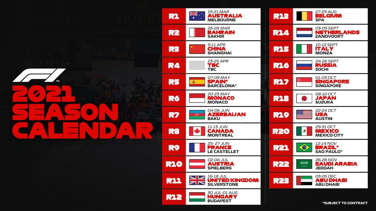 BREAKING: The 2021 #F1 calendar is here! https://t.co/jvBuT0gInW