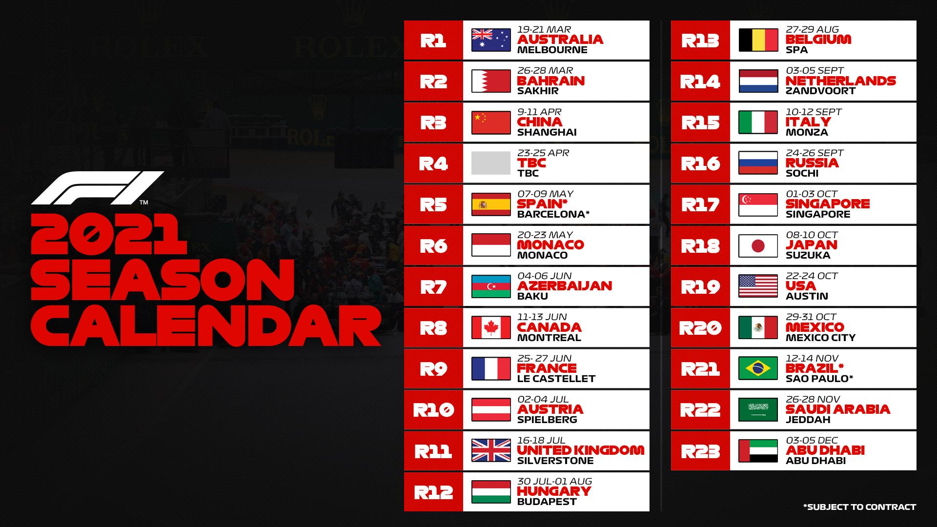 Ufficiale: 23 gare nel 2021, una da assegnare   Formula 1   Motorsport