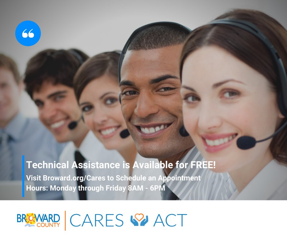 Do you need assistance with completing your Broward County Cares Act Grant application or have questions? FREE technical assistance is available. Visit https://t.co/KkOgBMRu9U and select technical assistance or call 954-831-2380. https://t.co/EhWYZljwJl