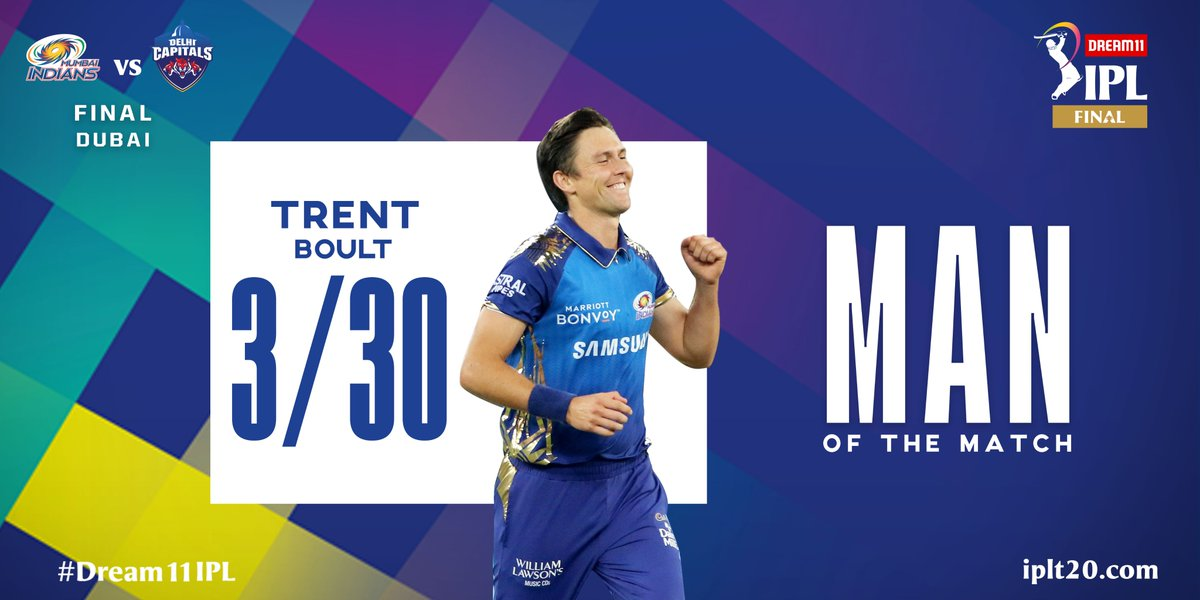 A very well deserved Man of the Match award for @trent_boult 👏👏  #Dream11IPL #Final