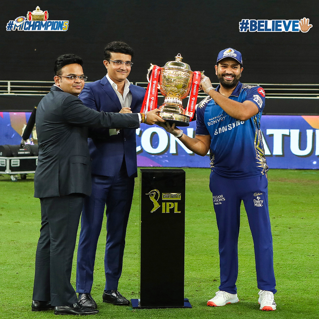 @ImRo45 @mipaltan The only captain to win the @IPL 🖐🏼 times 🏆🏆🏆🏆🏆💙  #OneFamily #MumbaiIndians #MIChampion5 #Believe🖐🏼 #MIvDC #Dream11IPLFinal @ImRo45