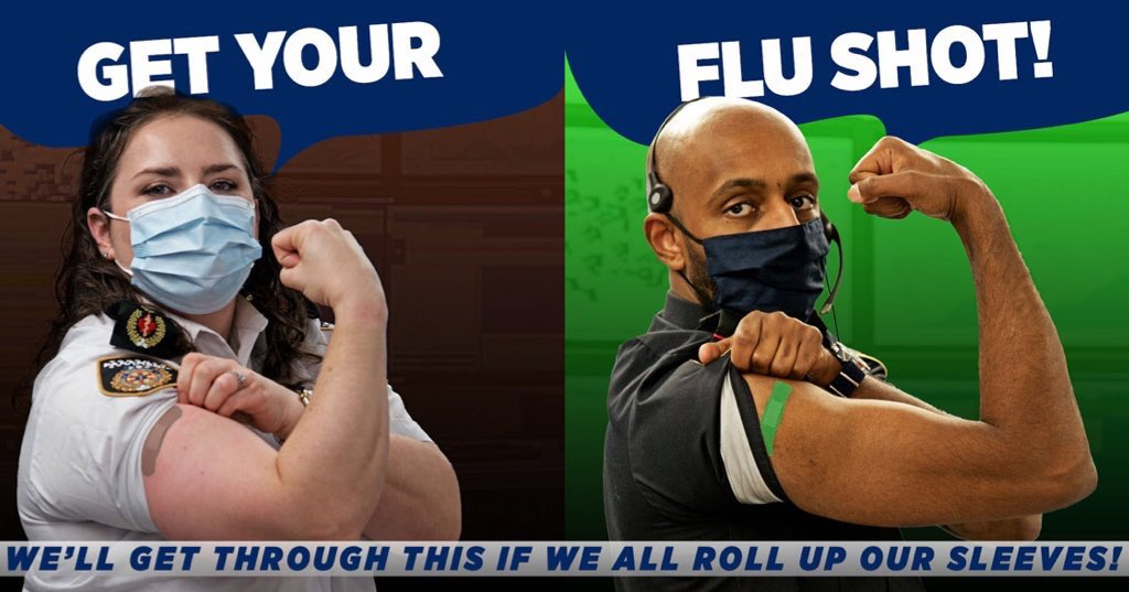 It is more important than ever to get a flu shot this year. Log onto tphbookings.ca for more information on flu vaccination clinics in @cityoftoronto. We'll get through this #TOgether if we all roll up our sleeves!