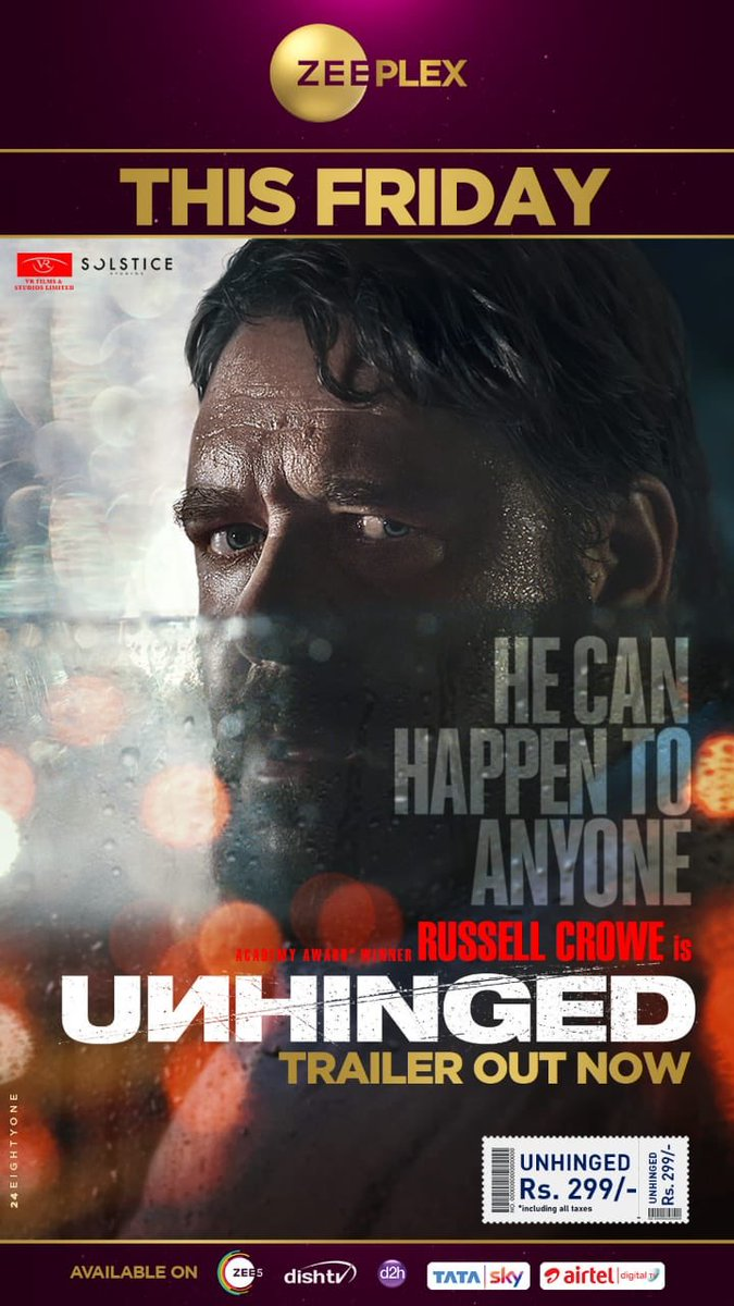 """""""He can happen to anyone"""" @russellcrowe arrives with #Unhinged this Friday, only at @ZeeplexOfficial"""