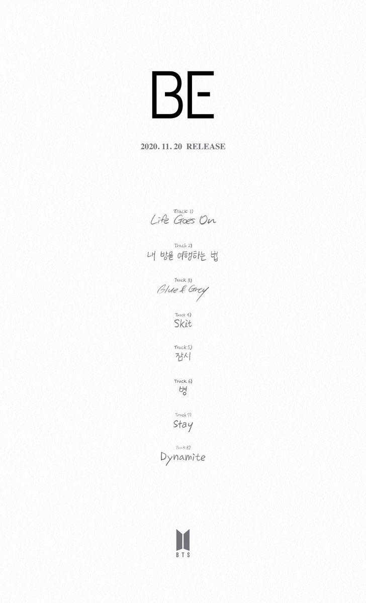 [情報] 201111 BTS BE 曲目表