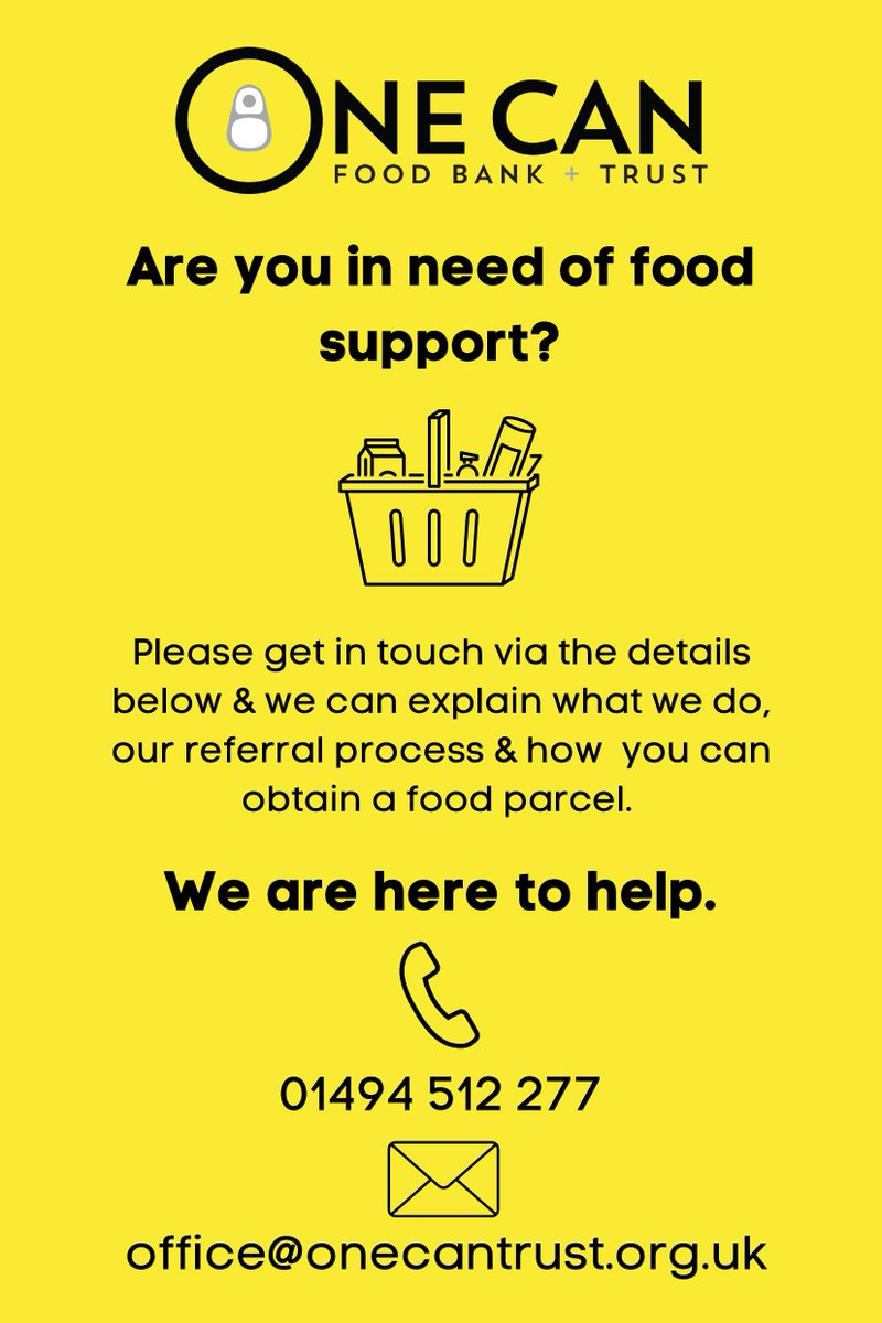 Please get in touch if you need support - our neighbour @One_Can_Trust will issue an emergency food parcel ahead of getting the referral information in place #CharityTuesday