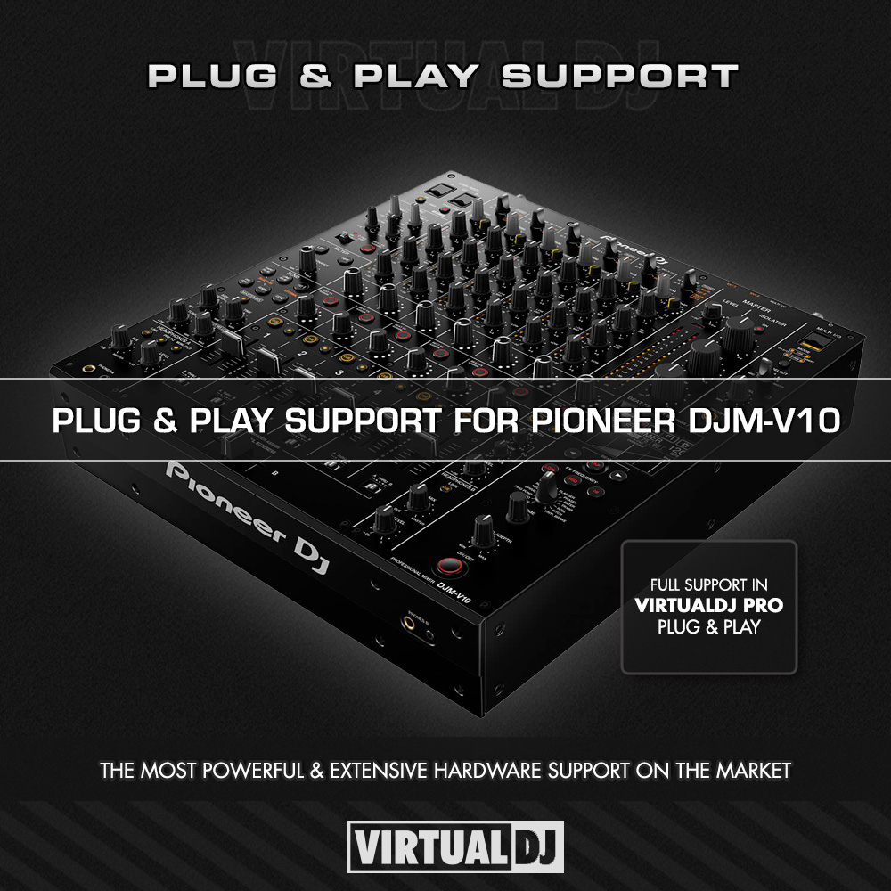 Plug & play support for @PioneerDJglobal  DJM-V10 ✅ Flagship 6-channel professional mixer, robust durable build quality, hi-quality audio & sound card built in, dual headphones for back to back performance and more... Get the most out of your mixer with @VirtualDJ