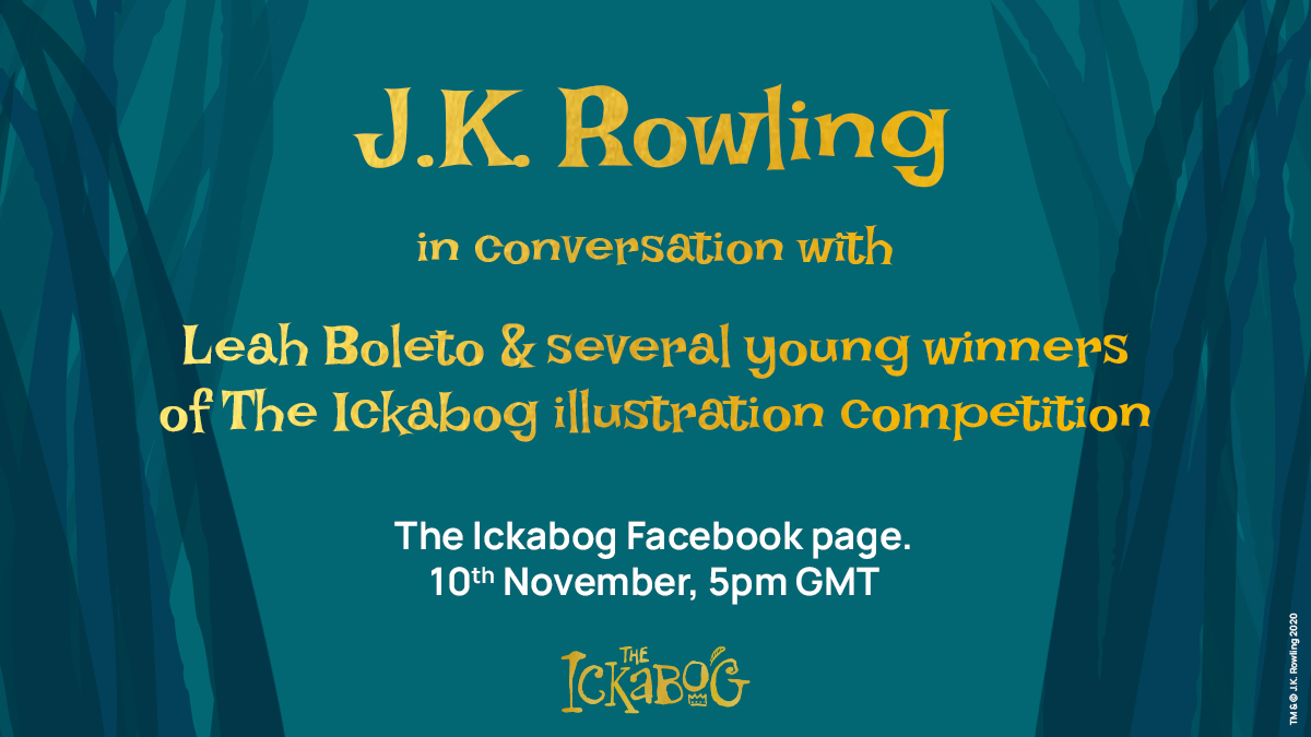 Meet the Ickabog!  To celebrate publication, this afternoon J.K. Rowling will be joined by Leah Boleto and several of the young winners of The Ickabog illustration competitions!