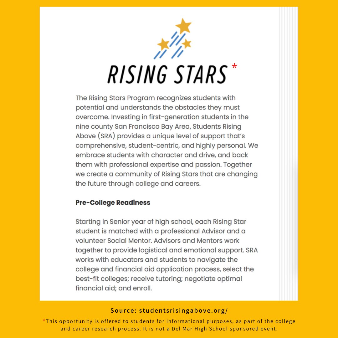 Hi Juniors! Sharing a great opp for you - the @SRAprogram's Rising Stars Program - that provides students with support they need to be successful in any level of post-secondary education & in life. Learn more, attend an info webinar on Nov 17 & apply at: https://t.co/5AxiUa8Dw5. https://t.co/8ooBj8LJ9A