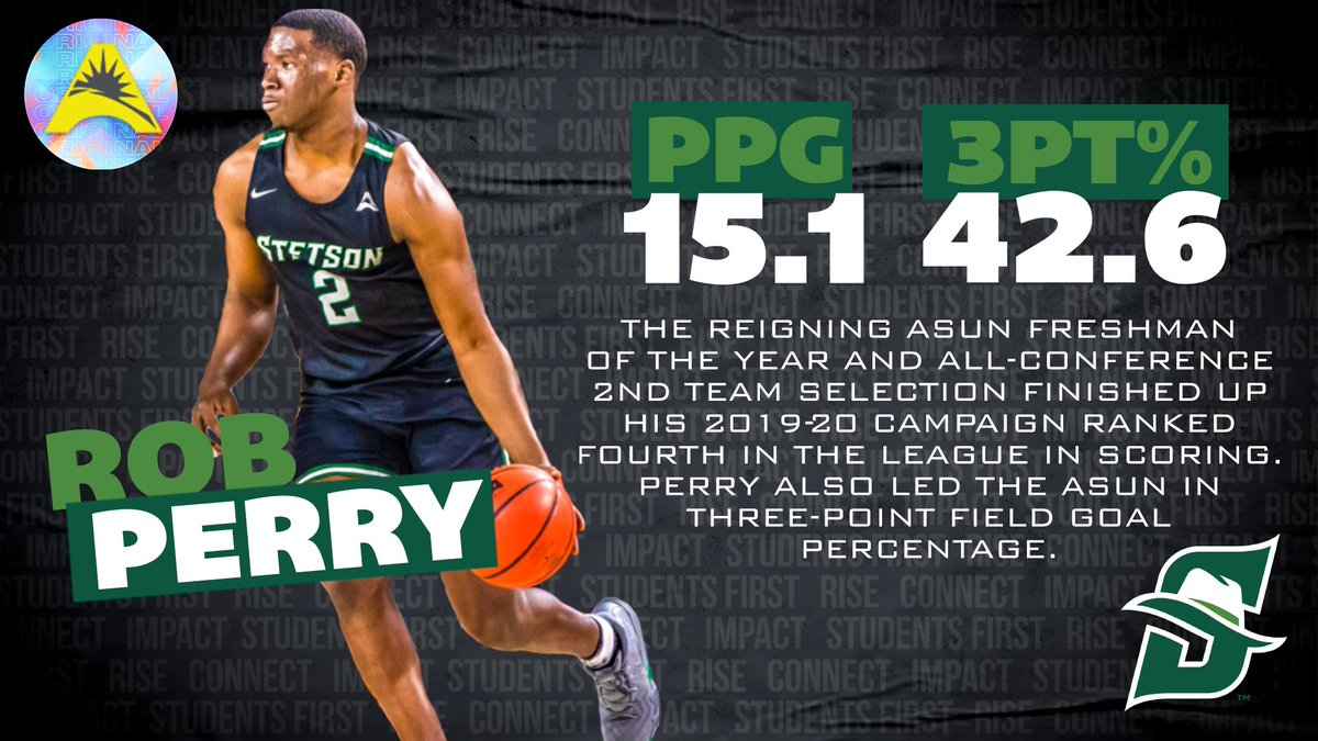 #ASUNMBB Preview - @StetsonMBB 🤠💯👊  Sophomore Rob Perry was named the 2019-20 ASUN Freshman of the Year after averaging 15.1 PPG & leading the league in 3FG% (42.6%). 🏀  📰   #ASUNBuilt | #GoHatters