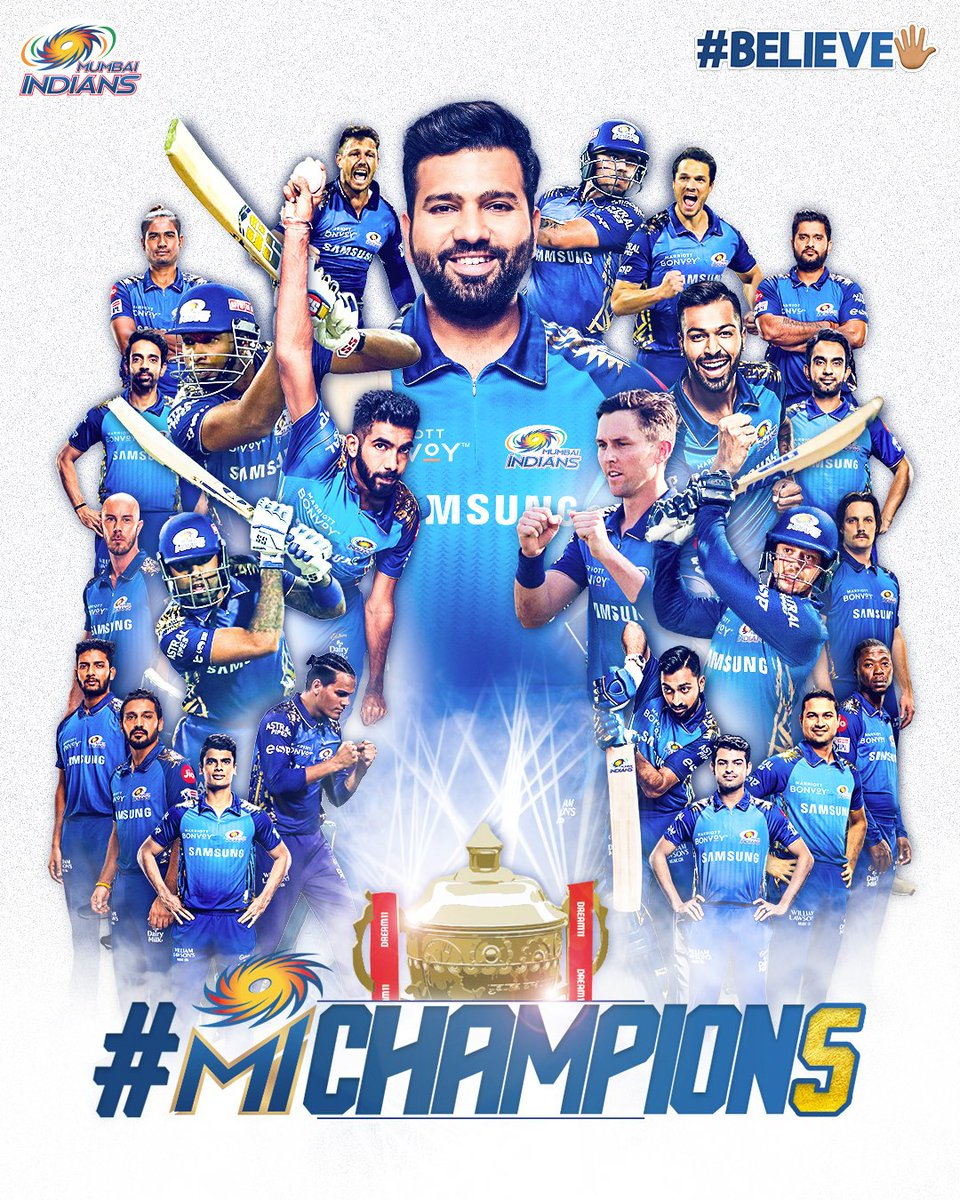 Replying to @mipaltan: 🏆 WE ARE THE CHAMPION5 💙  #OneFamily #MumbaiIndians #Believe🖐🏼 #MIChampion5 #MIvDC