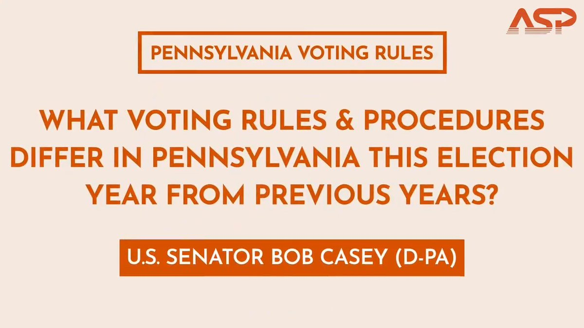 """""""Several million mail-in ballots as opposed to maybe 100,000.""""  Hear Pennsylvania @SenBobCasey explain the major differences in his state this year compared to years prior 👉"""
