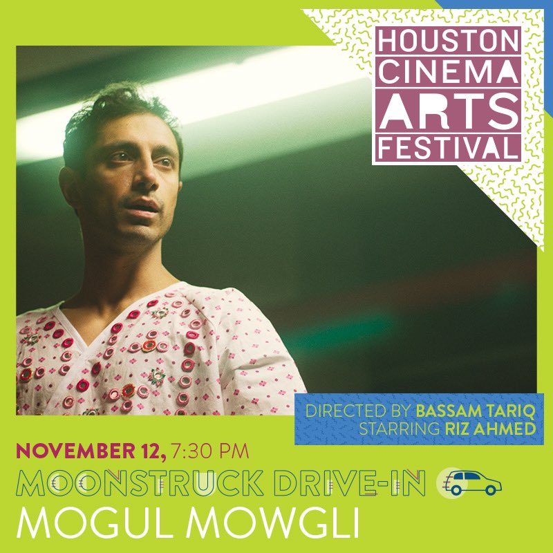 Houston! We're screening the TEXAS PREMIERE of Bassam Tariq's MOGUL MOWGLI with @curry_crayola and @BunBTrillOG in conversation 7:30 Thursday at Moonstruck Drive In! Tweet at us with questions for them! #HCAF2020
