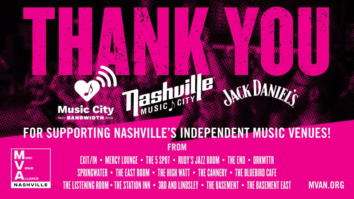 THANK YOU to @visitmusiccity , @JackDaniels_US & all of the talented artists for an incredible run of Music City Bandwidth. So grateful for your support to #KeepTheMusicPlaying 🖤🤘 ICYMI check out musiccitybandwidth.com for ways to support & learn more! #Keep615Live