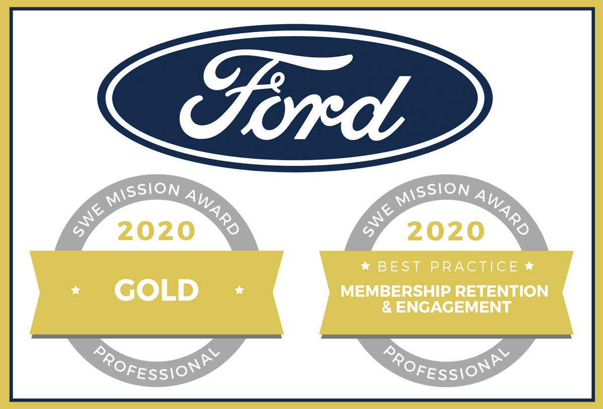 Ford-SWE (SWE at Ford) is a recipient of two Society of Women Engineers Mission Awards: Best Practice in Membership Retention & Engagement and Professional Gold. Stop by and visit with Ford at the Virtual Career Fair today until 4pm EST. https://t.co/Nyw6GZJKpk #WE20 #womeninSTEM https://t.co/JTHVJylgBv