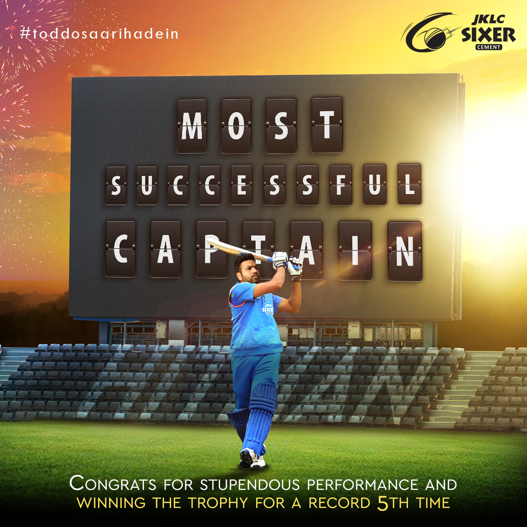 Champion @ImRo45, Congratulations on adding another one to your fame - 6 IPL Trophies and the 5th one as a Captain! What a performance. Kudos on the victory #congratulations #champion #hitman #rohitsharma #jklcsixercement #TodDoSaariHadein