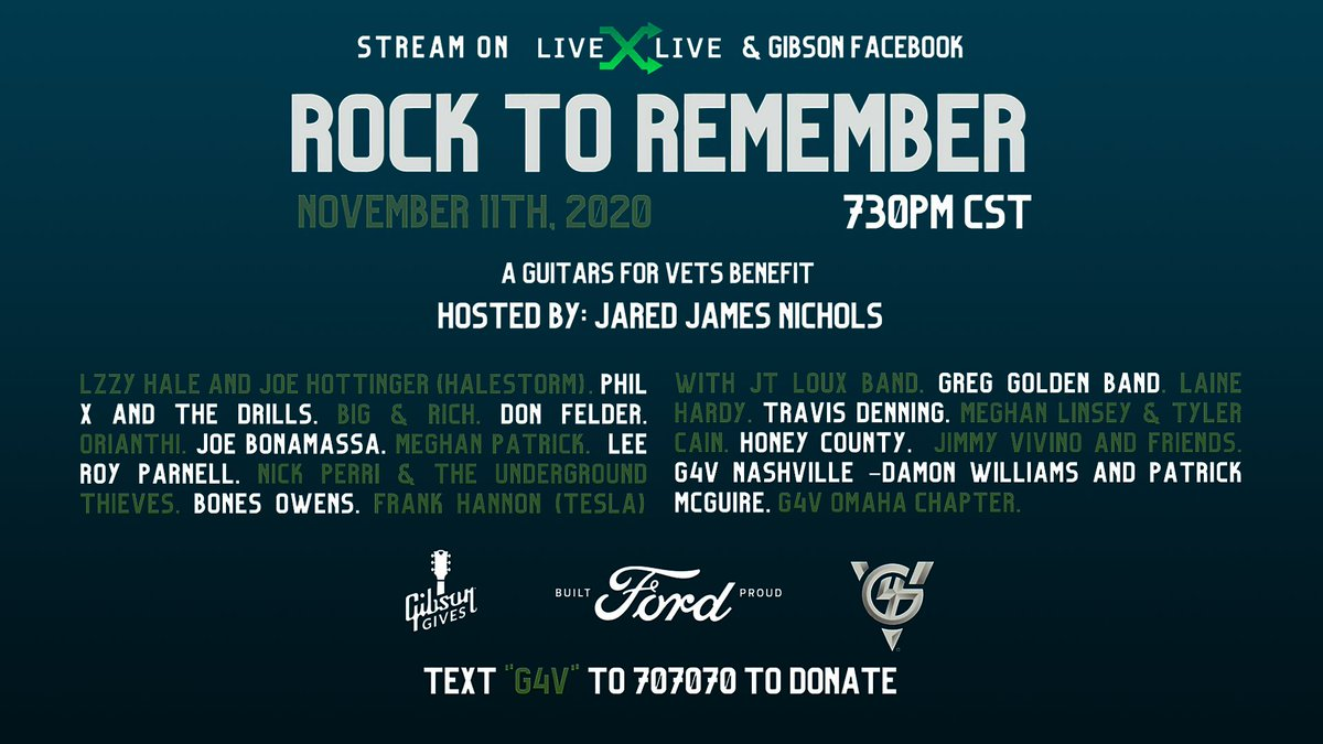ROCK TO REMEMBER: a @guitarsforvets & @gibsonguitar benefit concert. Join us for a musical celebration of US Military Veterans feat. performances by @JBONAMASSA, @bigandrich, @donfelder & more, hosted by @JJNicholsMusic. Streaming tomorrow at 8:30PM ET: