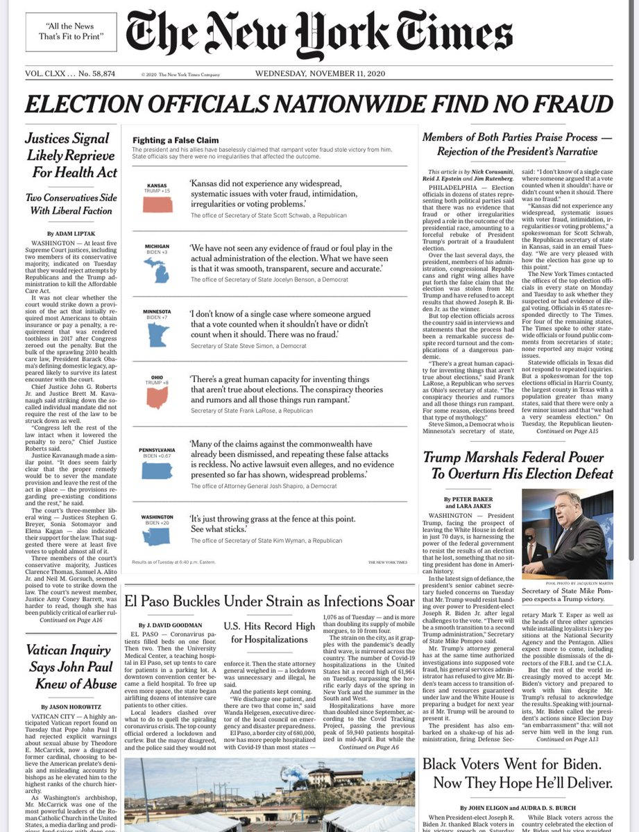 ELECTION OFFICIALS NATIONWIDE FIND NO FRAUD — Banner headline on Wednesday's @nytimes front page