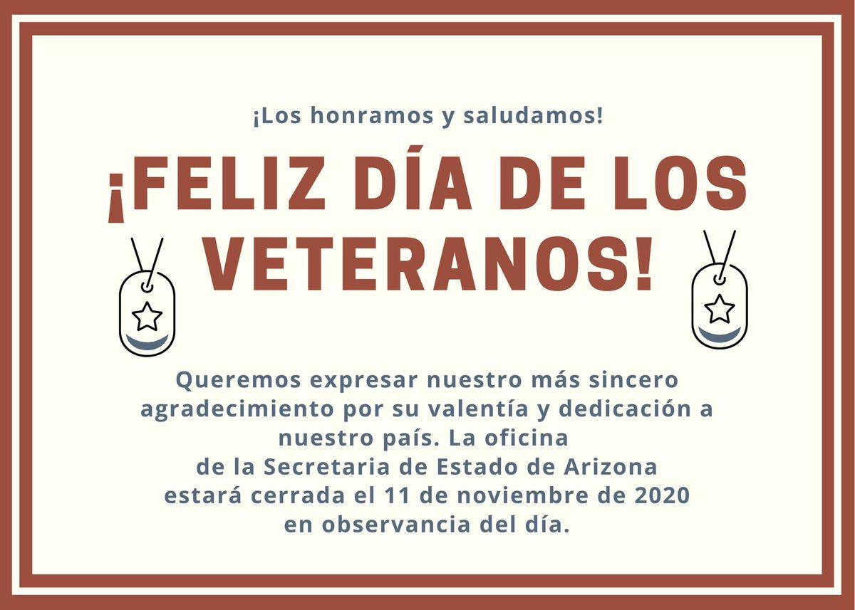 Nuestra oficina estará cerrada el 11 de noviembre de 2020, en conmemoración del Día de los Veteranos. Gracias a quién han servido.
