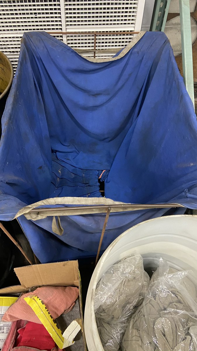 Welcome to the 2020 shop rag shortage, for the third week in a row with no shop rags. (Ones in the barrel are oily and dirty). We have such a great shop rag/uniform service here. https://t.co/wThAZYm8m6