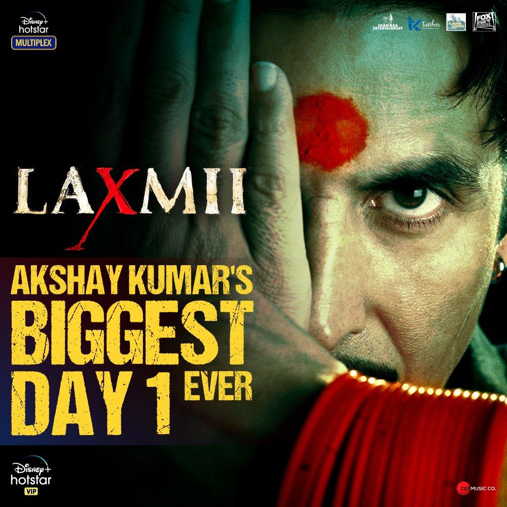 Laxmii becomes @akshaykumar's biggest opening ever! Thank you all for making this happen. Start streaming on @DisneyplusHSVIP now! #LaxmiiStreamingNow   #Laxmii #FoxStarStudios #DisneyPlusHotstarMultiplex #YehDiwaliLaxmiiWali