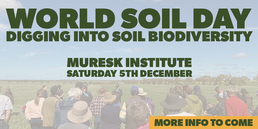 We are pleased to announce that registrations are open for our #WorldSoilDay event @MureskInstitute on Dec 5. Join us to hear from other West Australian Farmers about how they are improving their #SoilBiodiversity. Bring the family :)  #WSD2020 https://t.co/Z1oqV4rwql