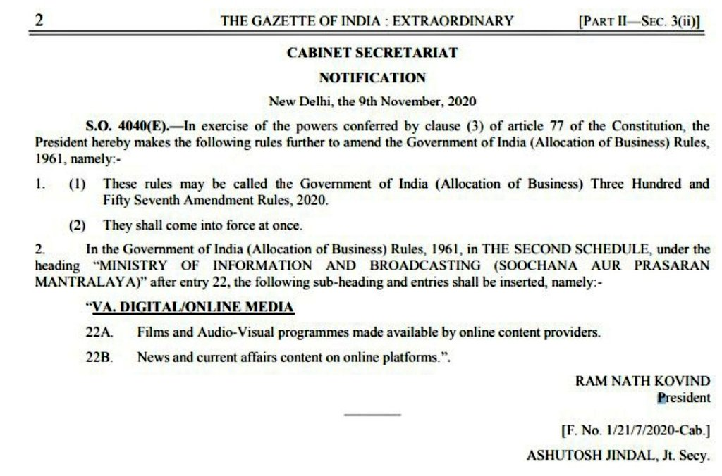 This is big. OTT platforms and Digital News platforms are under I&B Ministry now. Now, the ministry gets the power to regulate policies for OTT platforms. I&B had written to MeitY about this transfer of control.