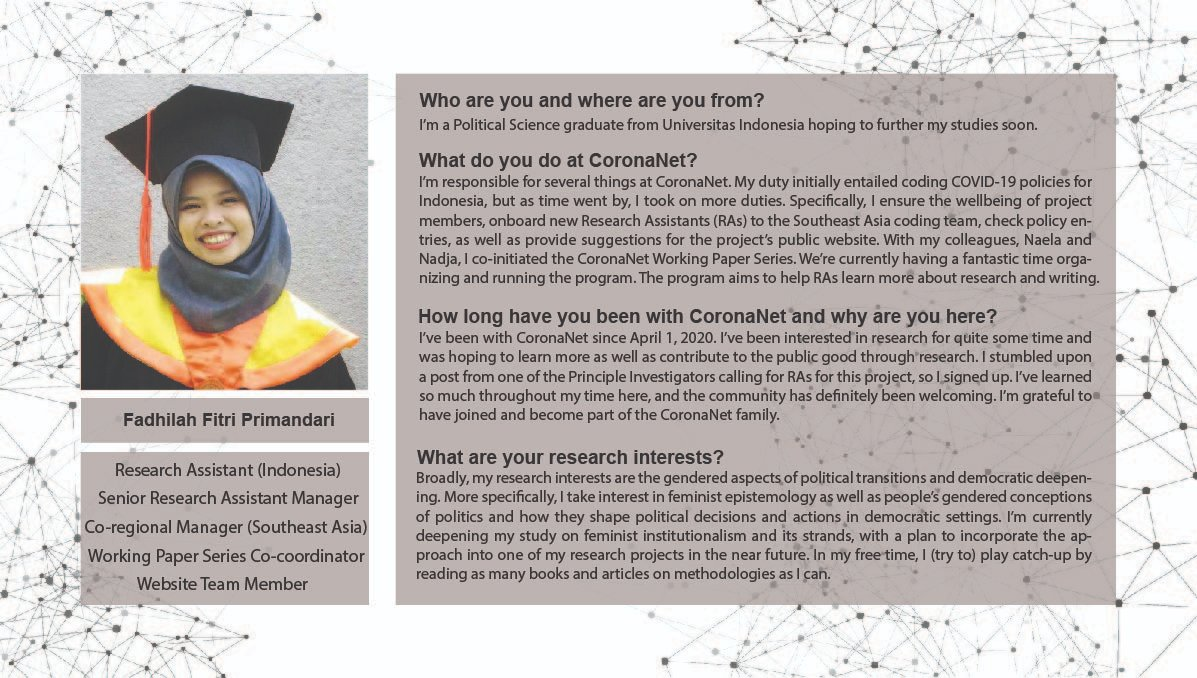 This week we present another interview with a CoronaNet contributor. Find out about the talented @dhilaprimandari below!  #research #ScienceTwitter #OpenScience https://t.co/NizynUC60O