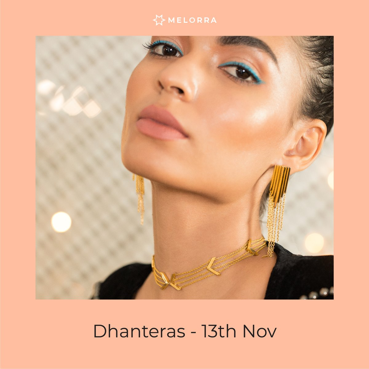 Give your festive look a whimsical update with bling and fringe. Check it out NOW >    P.S. This Dhanteras 13th Nov, bring home some glam and gold!  #Melorra #FineJewellery #LightweightJewellery #EverydayFineJewellery #ExtraFringeCollection #ShopOnline
