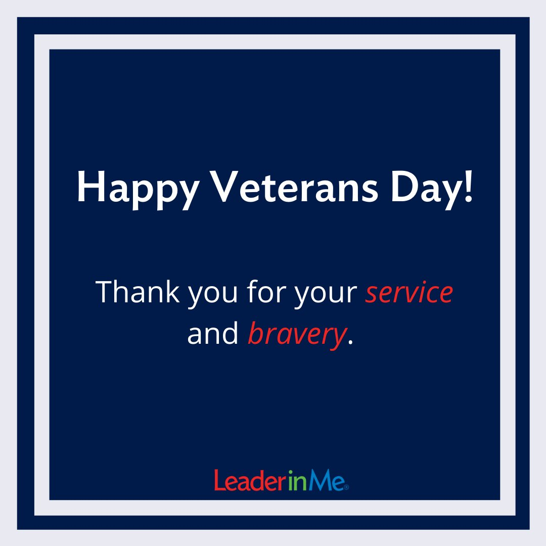 Today we honor our Veterans. We are so thankful for our you! 🇺🇲 #leaderinme #veteransday