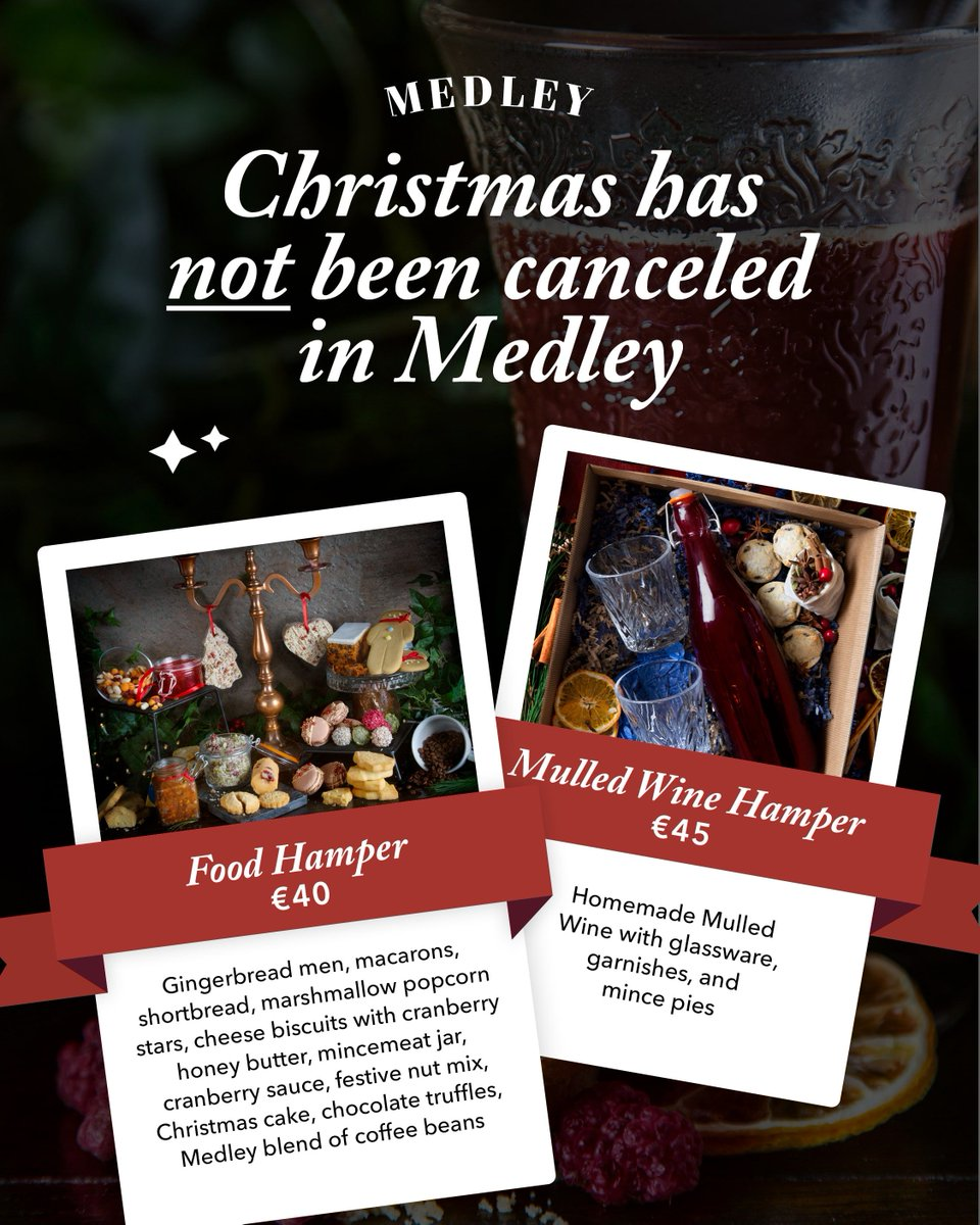 Andrew Rudd On Twitter Christmas Has Not Been Cancelled At Medley Our Handmade Christmas Hampers Are Now Available To Order Simply Email Andrew Medley Ie Place Your Order Today Medley Medleydublin