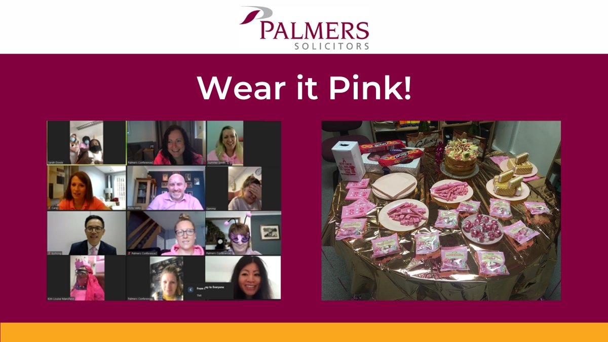 The Palmers team recently joined in with #WearItPink to raise money for @BreastCancerNow.   We are delighted to have raised £350 from a raffle for a lovely cake & the competition for the title of 'best-dressed'!  Congratulations to the winners, Kim Mansfield & Suryen Nullatamby!