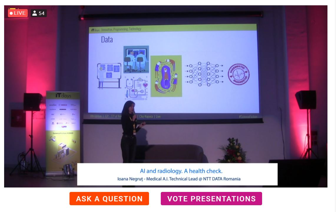 """Ioana Negrut, Medical A.I. Technical Lead NTT DATA Romania presenting """"AI and radiology. A health check."""" at IT Days! #ITDays2020 #NTTDATARomania https://t.co/rRY2T7ljet"""