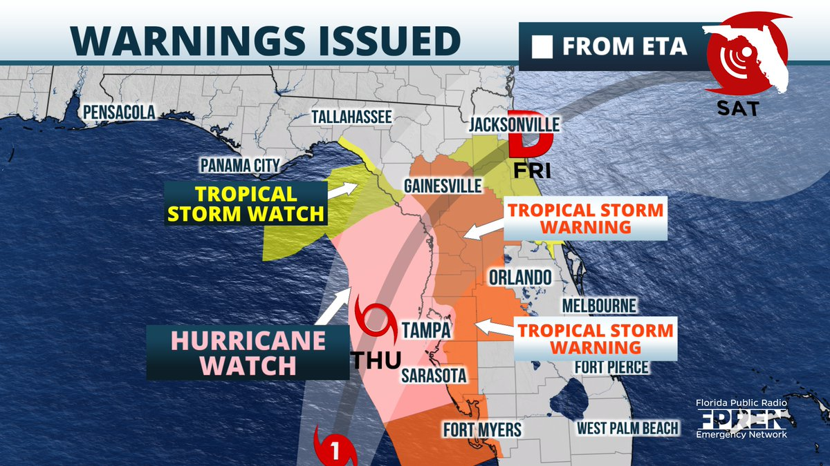 Tropical Storm Warnings are up for much of #Florida's west coast, extending inland as far as the I-75 corridor. Hurricane Watch is up for the #Tampa/#StPete area to the #NatureCoast for the chance of hurricane conditions. Tropical storm conditions most likely. #FLwx https://t.co/vvufnKPH7W