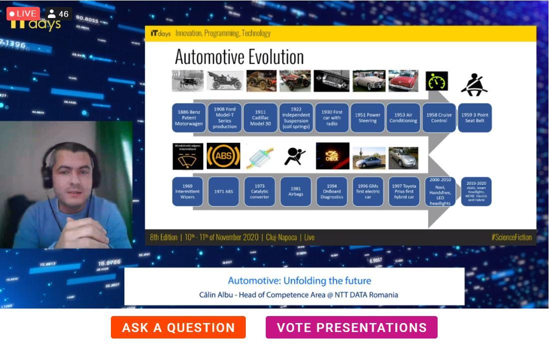"Calin Albu, Head of Competence Area NTT DATA Romania presenting ""Automotive: Unfolding the future"" at IT Days!  #ITDays2020 #NTTDATARomania https://t.co/gmVJf4u4CE"