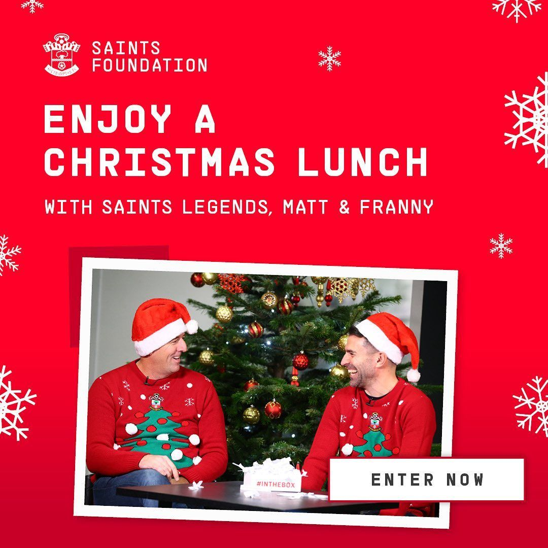 WIN CHRISTMAS LUNCH WITH MATT & FRANNY 🎄  To enter: 🎅 Visit  or download the #Wishio app 🎅 Donate any amount to Matt & Franny's chosen charity, @SFC_Foundation  🎅 Sit back, relax & keep your fingers crossed!  @SouthamptonFC @mattletiss7 @FrannyBenali
