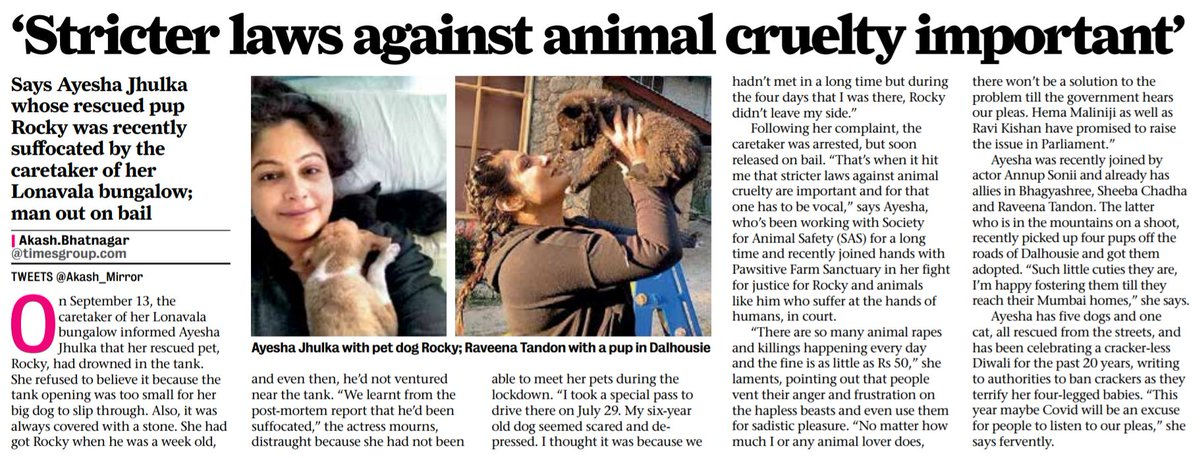 #AyeshaJhulka, who lost her dog Rocky in September due to caretaker's negligence, asserts the importance of stricter laws against animal cruelty, @soniiannup @TandonRaveena @bhagyashree123 #SheebaChadha join in her fight @SasindiaSas @pawsitivefarm