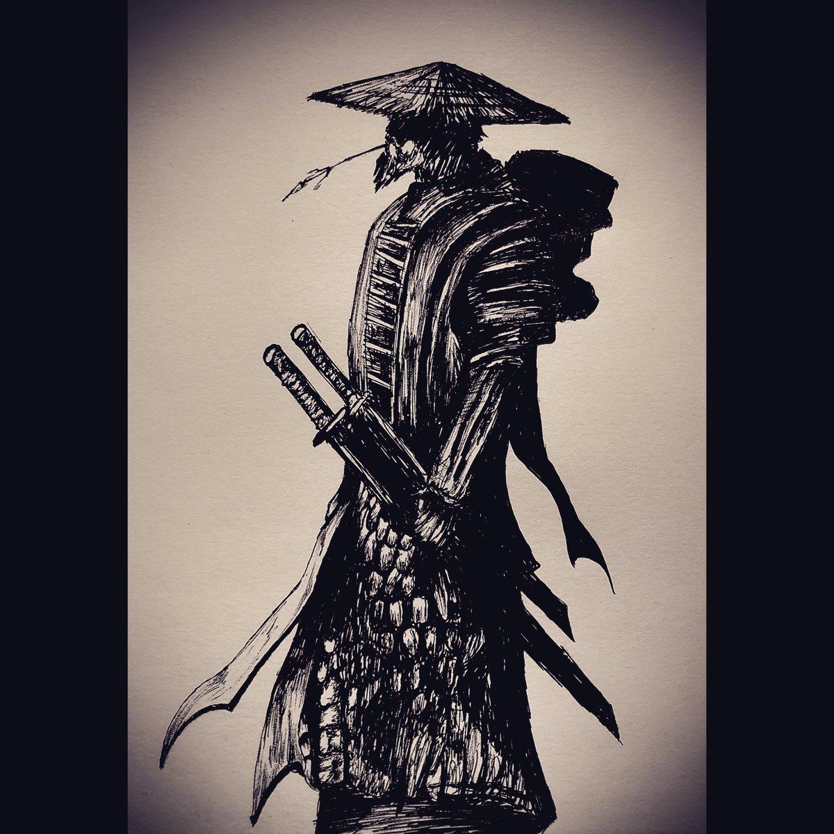 Japanese Samurai, artist/BlackTiger_7, black pen, 2020