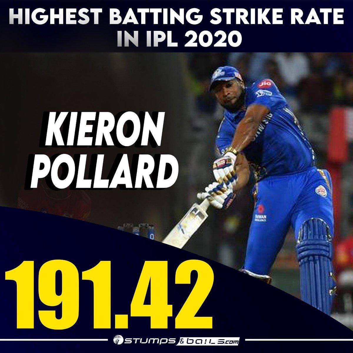 Highest SR in #IPL2020 🤩🥳 @KieronPollard55  Follow us @stumpnbails #IPL2020finals #IPLinUAE #IPLFinals #dream11iplfinal #Dream11IPL2020 #MI #DC #MIvsDC #DCvMI #MumbaiIndians #DelhiCapitals #RohitSharma #KieronPollard