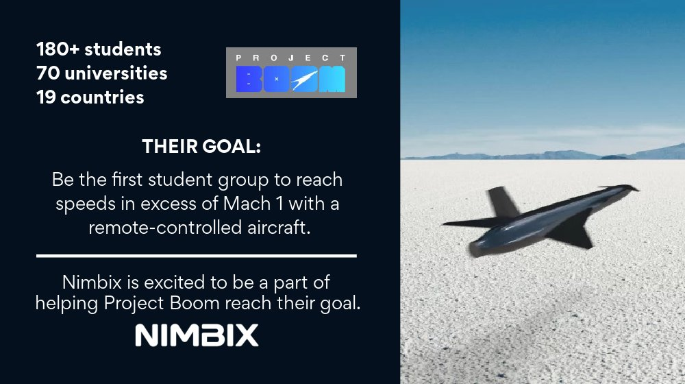We are excited to partner with @TheProjectBoom in their quest to be the first student group to reach speeds in excess of Mach 1 with a remote-controlled #aircraft.  Learn more about #ProjectBoom here: https://t.co/G22DOMACmV #supersonic https://t.co/uqLnBnc45s
