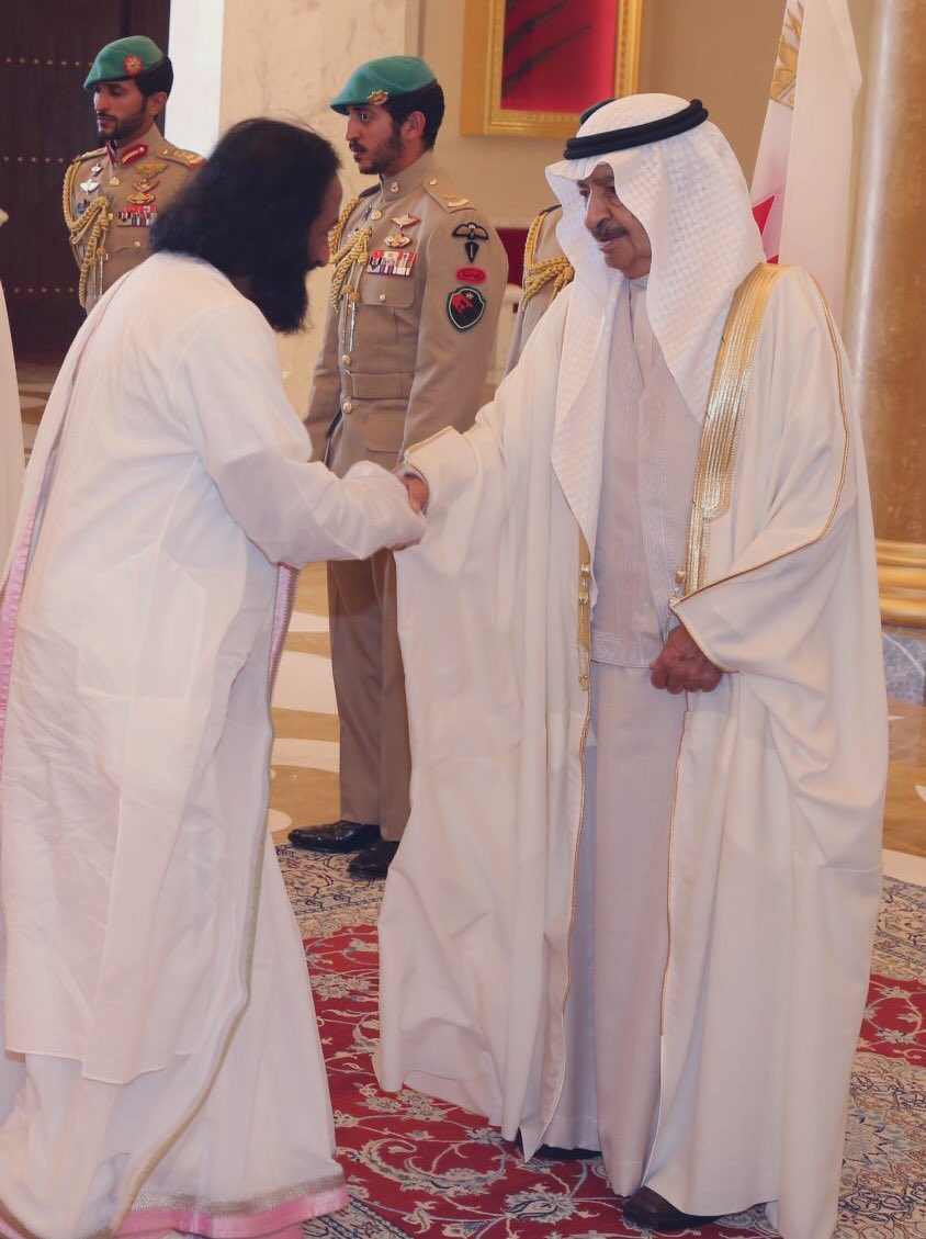 His Royal Highness Prince Khalifa bin Salman Al Khalifa, Prime Minister of Bahrain, had great appreciation for interfaith dialogues and the violence-free movement of @ArtofLiving. He will be remembered for his commitment to human values. https://t.co/UbO2c1wTxO