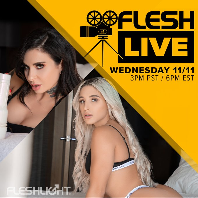 Come hang out on TODAY'S FleshLive with our brilliant host and Fleshlight Girl, the multi-talented @JoannaAngel