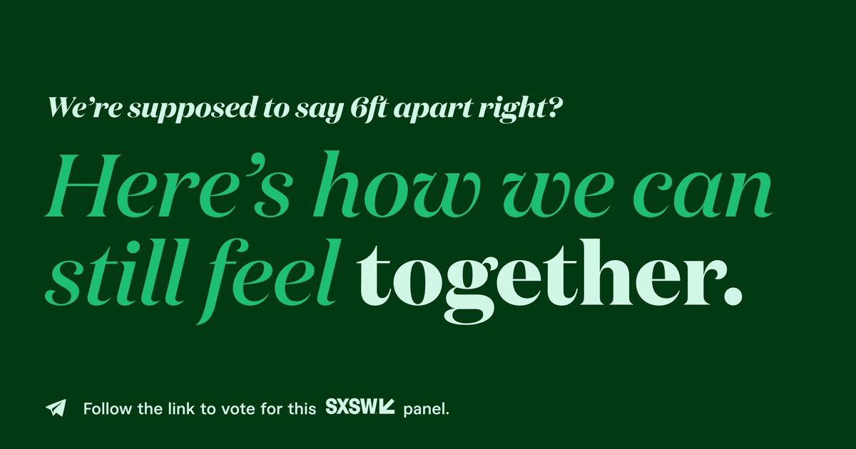 What makes the covid-19 crisis so difficult, and unsettling is that we're asked to do nothing. This panel will discuss the ways that brands, companies, and their products have created community, while not complicating the current mandate.  Vote #SXSW2021 https://t.co/WBTGpZrN91 https://t.co/g1EdiSKwN7