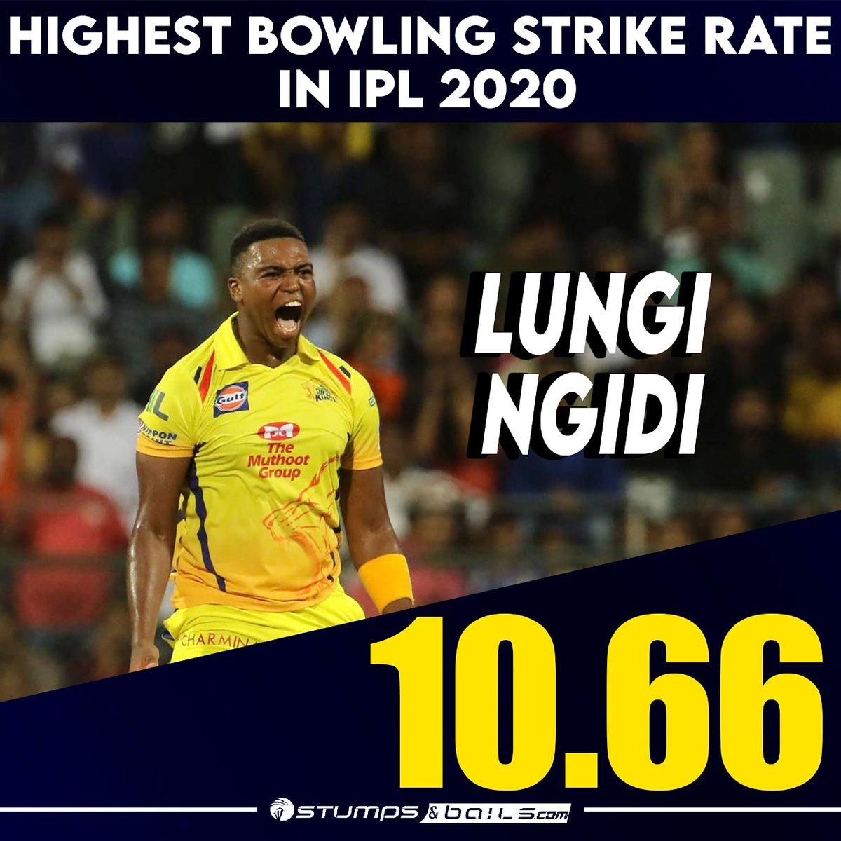 Highest bowling SR in #IPL2020 🤩🥳 #LungiNgidi  Follow us @stumpnbails #IPL2020finals #IPLinUAE #IPLFinals #Dream11IPL2020 #MI #DC #MIvsDC #DCvMI #MumbaiIndians #DelhiCapitals #RohitSharma #CSK #ChennaiSuperKings