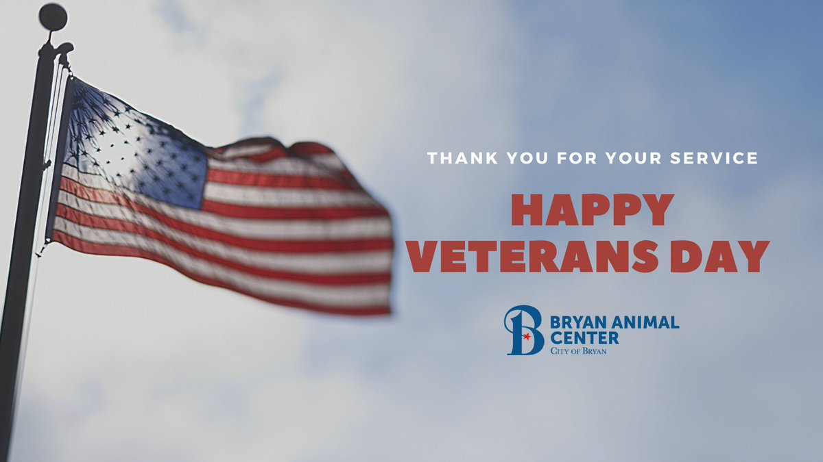 Happy Veterans Day to all of the two and four-legged Veterans. Thank you for your service! 🇺🇸 #VeteransDay #ThankYouForYourService #CityofBryan #BryanAnimalCenter #BetterInBryan
