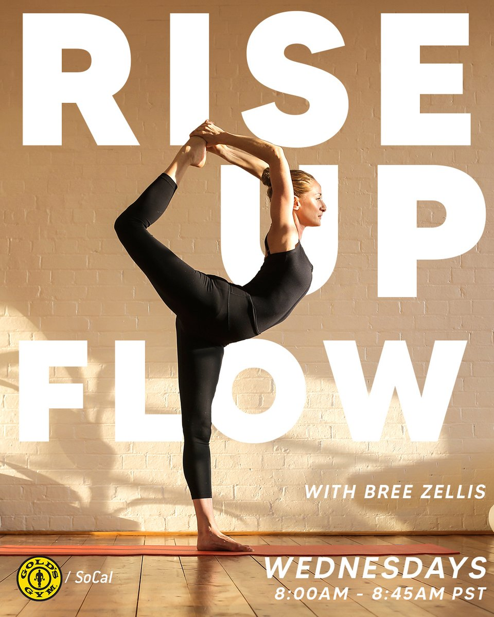 Don't miss #RiseUpFlow with @doyogawithbree on @GoldsGymSoCal Instagram Live every Wednesday at 8 AM PST!⁠ - - Click the link for our full schedule of #Zoom & #InstagramLive classes.   ⁠ #GoldsGym #GoldsGymSoCal #StayInShape #HomeWorkout #Yoga