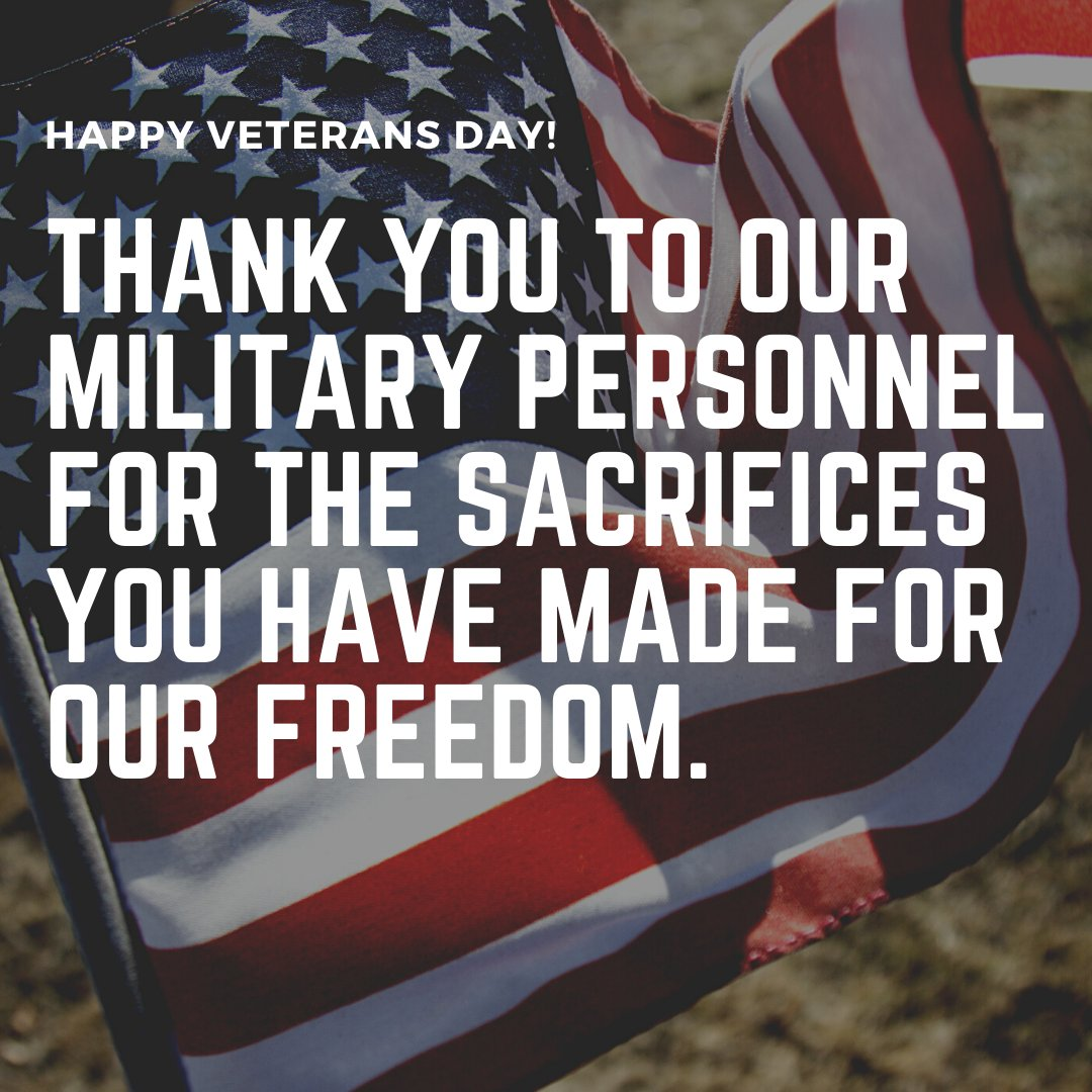 Happy Veterans Day! Thank you to our military personnel for the sacrifices you have made for our freedom.
