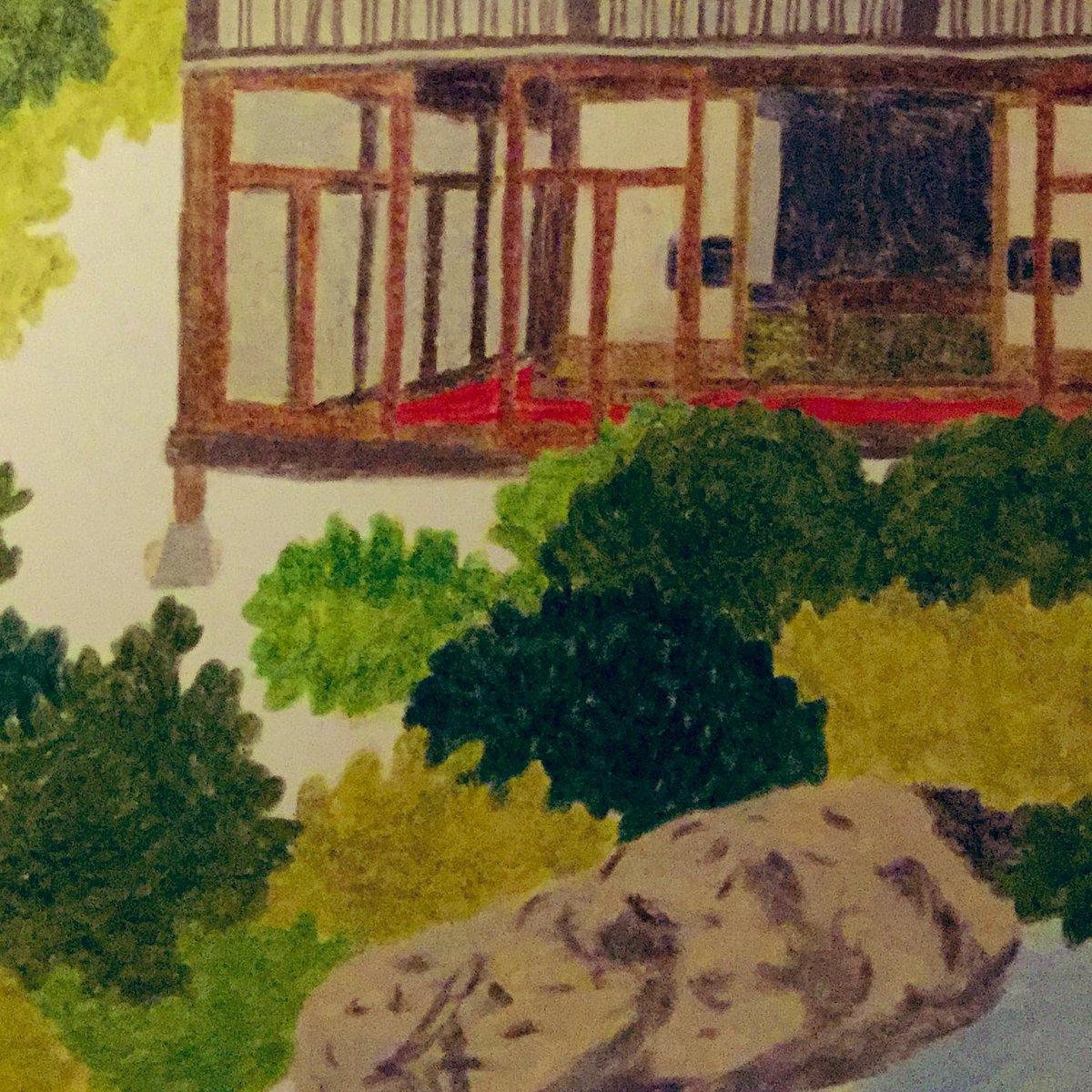 色鉛筆でごりごり描いてると粉がたくさん散らばるので、余白の汚れ防止のためにホース付きの掃除機を側に待機させるようになってしまって、もう2週間出しっ放し。小さいのを買えばいいんだけど。描きかけの日本庭園。終わらないものばっかり!